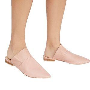 Free People Pink Leather Sienna Slip On Mules